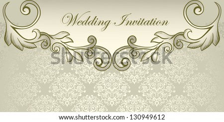 Wedding invitation, elegant classical design - stock vector