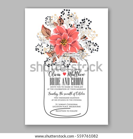 Wedding invitation floral bridal shower invitation stock vector wedding invitation floral bridal shower invitation wreath with pink flowers anemone peony wild privet stopboris Images