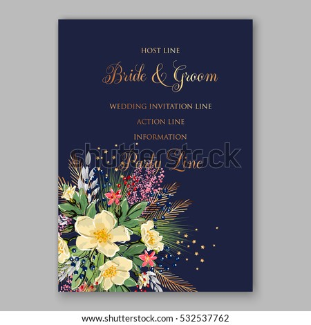 Wedding Invitation Floral Bridal Wreath with pink flowers Anemones, fir, pine branches, wild Privet Berry, vector floral illustration in vintage watercolor style blue background
