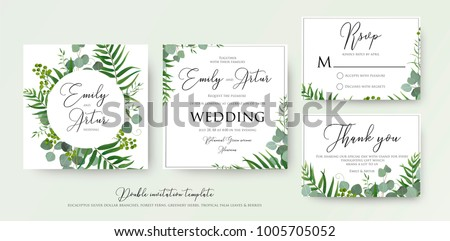 Wedding invitation floral invite thank you stock vector hd royalty wedding invitation floral invite thank you rsvp modern card design green tropical stopboris Images