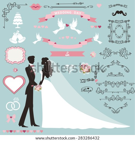 Bride and groom vector stock images royalty free images vectors wedding invitation flourish decor setrtoon couple bride in white dress and groomswirling junglespirit Image collections