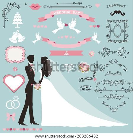 Wedding invitation flourish decor set.Cartoon couple bride in white dress and groom.Swirling borders, ribbon,icons,heart,label.Design template kit,save date card.Vintage Vector Illustration,flat. - stock vector