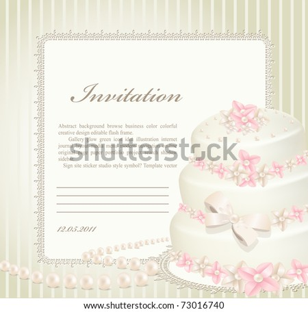 wedding invitation, greeting card with a birthday cake - stock vector
