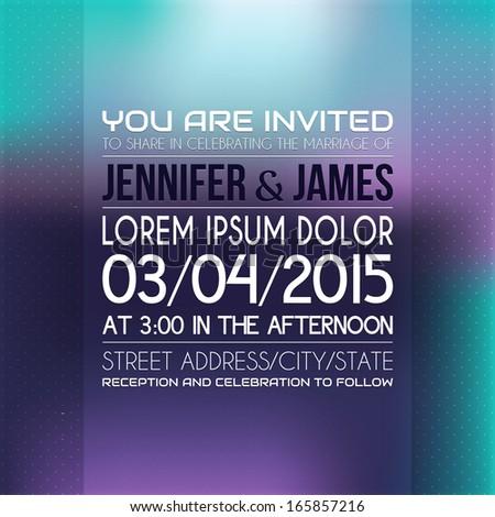Wedding invitation in bright color. - stock vector