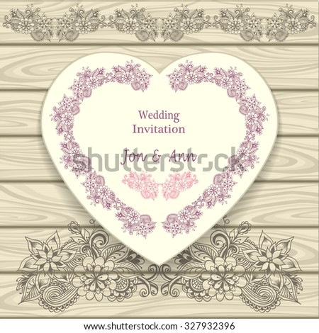 Wedding invitation in heart form with doodle floral elements pink on beige on wood background - stock vector