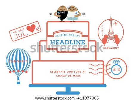Wedding invitation passport theme wedding cake stock vector wedding invitation in passport theme wedding cake illustration graphic stopboris Gallery