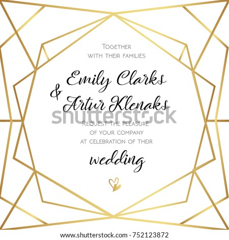 Wedding invitation invite card design geometrical stock vector wedding invitation invite card design with geometrical art lines gold foil border frame stopboris Image collections