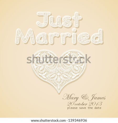 Wedding invitation. Lacy white heart on a gold background. - stock vector
