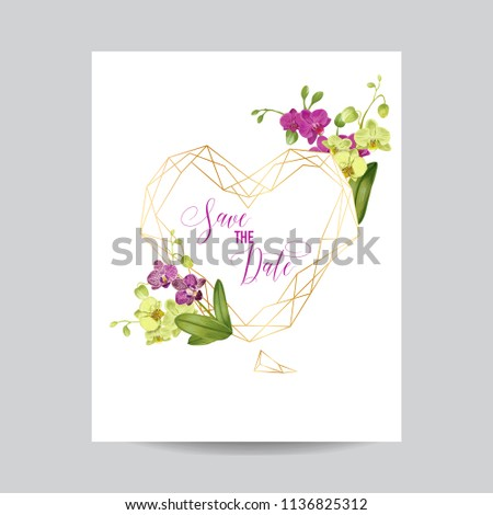 Wedding Invitation Layout Template Orchid Flowers Stock Vector - Wedding invite layout templates