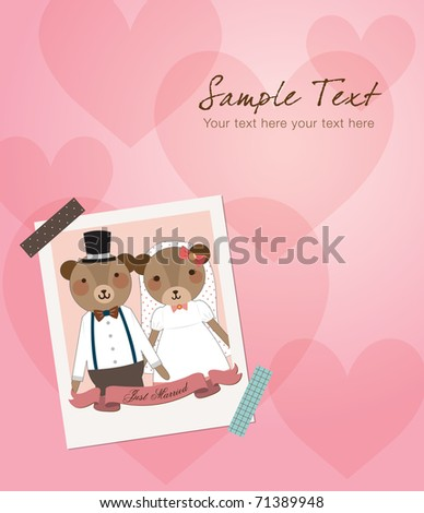Wedding Invitation - Little Cute Bears Couple Just Married Photo. Vector Illustration. - stock vector