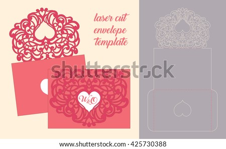 Wedding invitation greeting card abstract ornament stock vector wedding invitation or greeting card with abstract ornament vector envelope template for laser cutting m4hsunfo