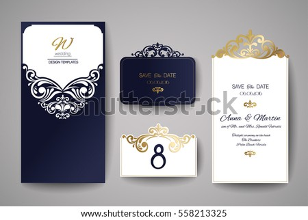 Wedding invitation greeting card gold floral stock vector royalty wedding invitation or greeting card with gold floral ornament wedding invitation envelope for laser cutting stopboris Choice Image