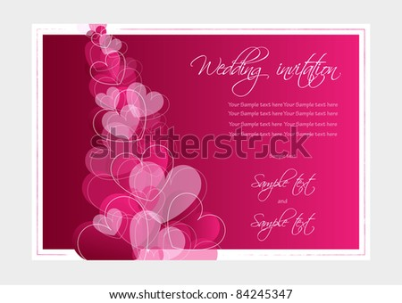 Wedding invitation or Valentine card, vector - stock vector
