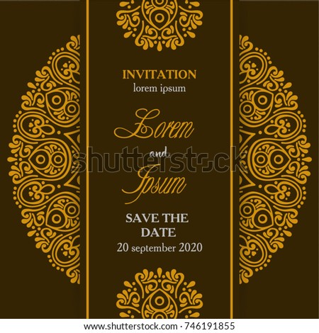 Wedding invitation ornament gold vector stock photo photo vector wedding invitation ornament gold vector stopboris Image collections