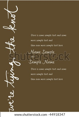Wedding Invitation Panel   Weu0027re Tying The Knot