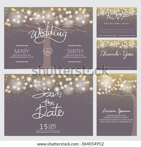 wedding invitation, RSVP, and Thank you card  templates,light and tree concept. can be use for party invitation, banner, web page design element or holiday greeting card. vector illustration - stock vector