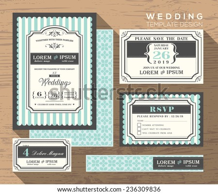 wedding invitation set design Template Vector place card response card save the date card - stock vector