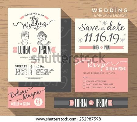 wedding invitation set design template vector place card response card save the date card - Wedding Invitation Set