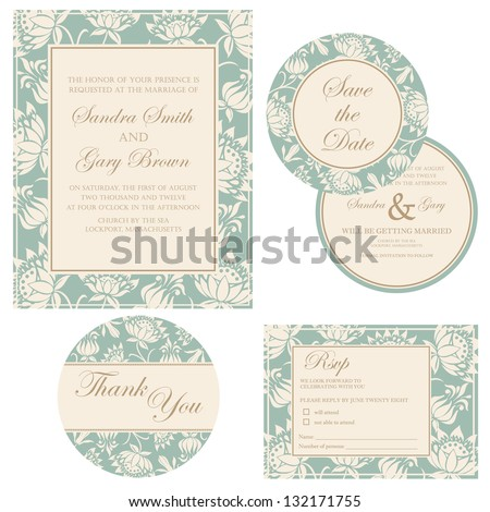 Wedding invitation set (thank you card, save the date card, RSVP card)