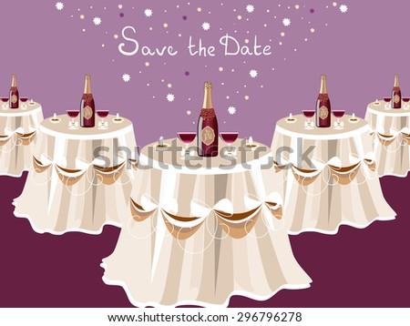 Wedding invitation table champagne restaurant hall stock vector wedding invitation table with champagne restaurant hall celebrate card vector design stopboris Images