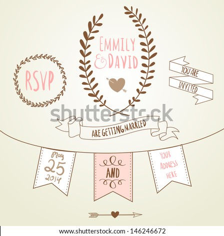 Wedding Invitation Template Chalkboard Style Vector Stock Vector ...