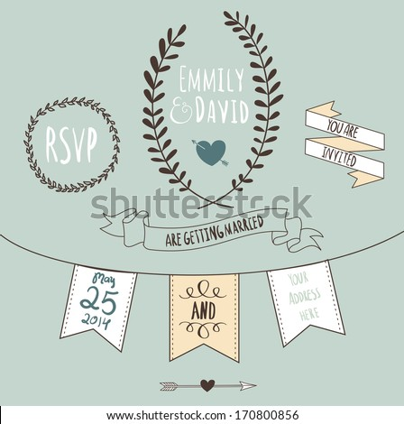 Wedding Invitation Template. Chalkboard style vector card  - stock vector