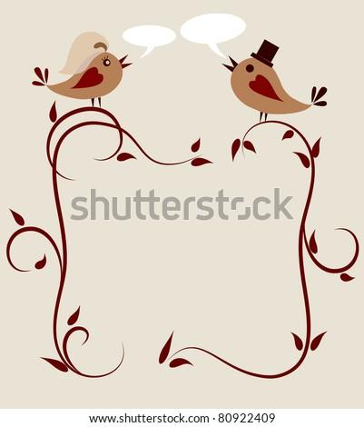 wedding invitation template of two birds . - stock vector