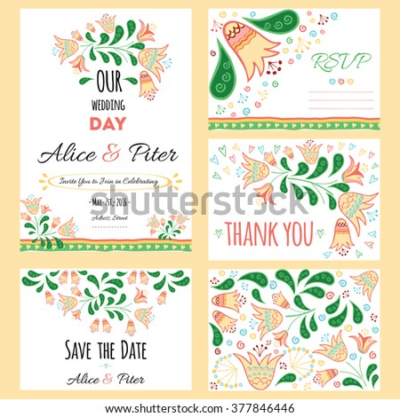 Wedding Invitation template, save the date, invitation and envelope, thank you card. Wedding set. RSVP card. Marriage event. Valentine day design. Hand drawn doodle colorful design in vector. - stock vector