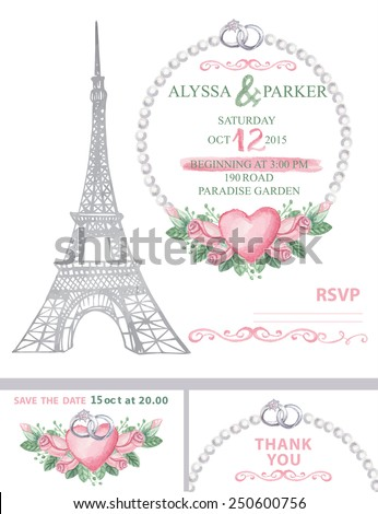 Wedding invitation template set.Watercolor with Eiffel tower,watercolor pink roses wreath ,pearls,rings,swirls border.Wedding invitation,save the date card, thank you card,RSVP.Cute vintage Vector - stock vector