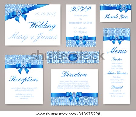 Wedding invitation template set lace border stock vector hd royalty wedding invitation template set with lace border blue bow and sapphire brooch stopboris Choice Image