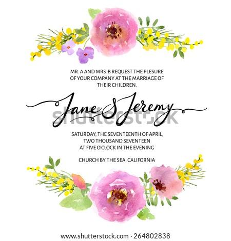 Wedding Invitation Template Vector Watercolor Flower Stock Vector HD