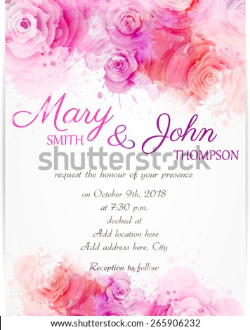 Wedding invitation template with abstract roses on watercolor background - stock vector