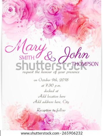 rose wedding invitation background - photo #36