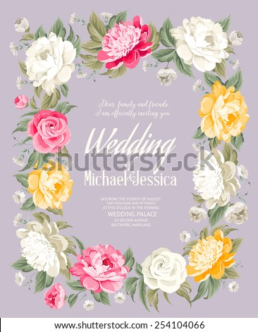 Wedding invitation template with custom text and blooming flowers. Vector illustration. - stock vector
