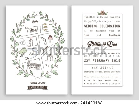 WEDDING INVITATION TEMPLATE WITH MAP. ROYAL INVITATION DESIGN. Nice layout. Editable vector illustration file. - stock vector