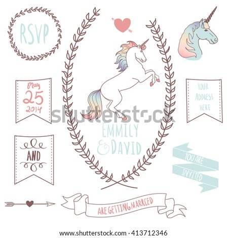 Wedding Invitation Template with the unicorn. Chalkboard style vector card  - stock vector