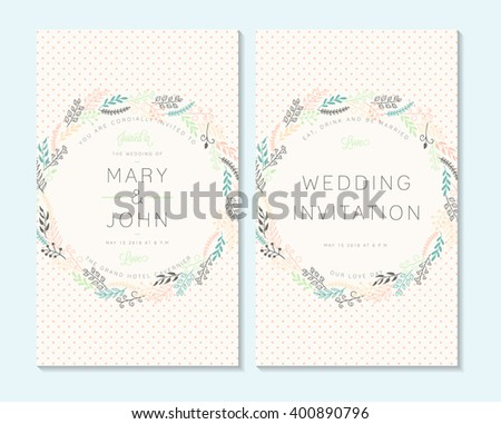 Wedding invitation, thank you card, save the date cards. Wedding invitation, baby shower, menu, flyer, banner template. - stock vector