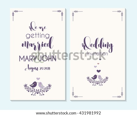 Wedding invitation, thank you card, save the date cards. Wedding invitation, baby shower, menu, flyer, banner template with birds, hand drawn calligraphy,  background. Summer wedding invitation. - stock vector