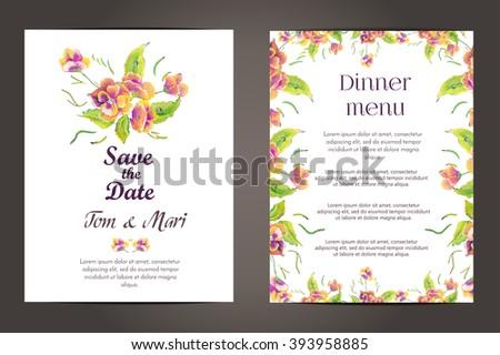 Wedding invitation vector cards set flower wedding stock vector wedding invitation vector cards setflower wedding invitation card save the date card stopboris Images