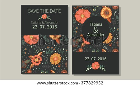 Wedding invitation vector design cute tender em vetor stock wedding invitation vector design with cute tender flowers and herbs painted by hand seamless stopboris Images