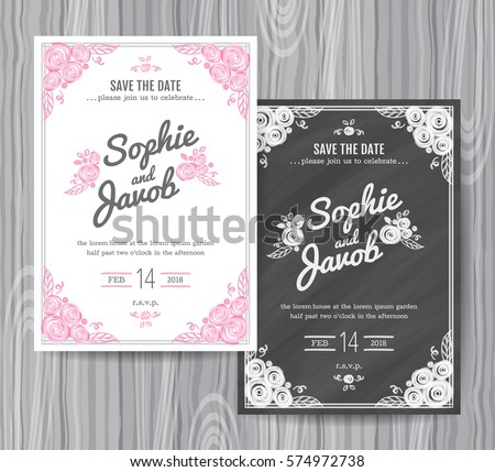 Wedding Invitation Vintage Card Freehand Flower Stock Vector