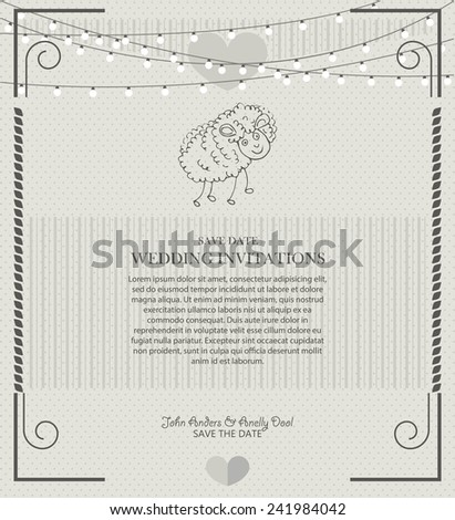 wedding invitation vintage with sheep - stock vector