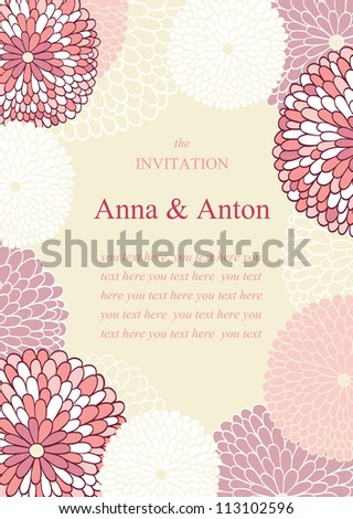 Wedding invitation.Wedding invitation. Floral romantic vector background in pink. Frame with flowers and text. - stock vector