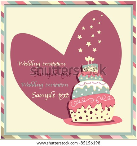 wedding invitation with a cake - stock vector