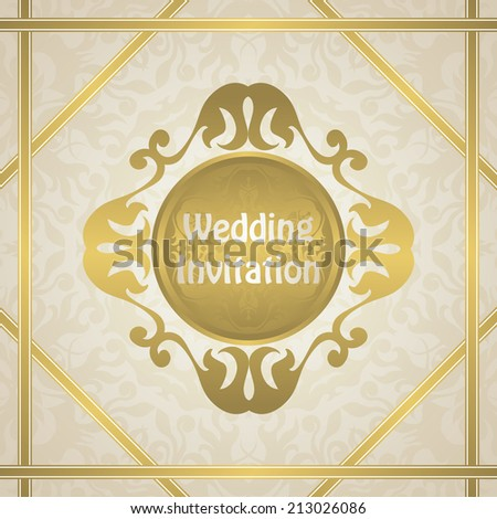 Wedding invitation with a gold frame. Original design        - stock vector