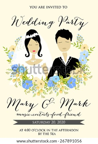 Wedding invitation with cartoon couple groom and bride