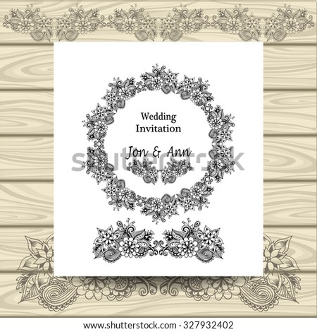 Wedding invitation with doodle floral elements on white on wood background - stock vector