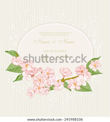 Wedding invitation with flowers. Spring apple blossom. Floral background in vintage style.  - stock vector