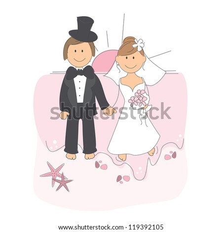 Wedding invitation with funny bride and groom on a beach at sunset, hand drawing illustration on white background