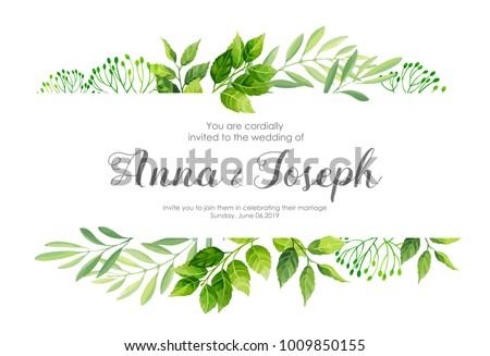 Wedding invitation green leafs border vector stock vector royalty wedding invitation with green leafs border vector illustration stopboris Images